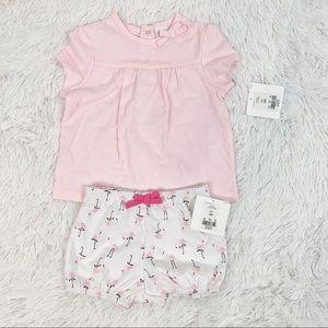 Starting out flamingo bow tee shorts matching set